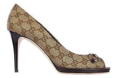 414b98d43176f Gucci Women's Open Toe Pumps Court Shoes Heel miro Soft Brown