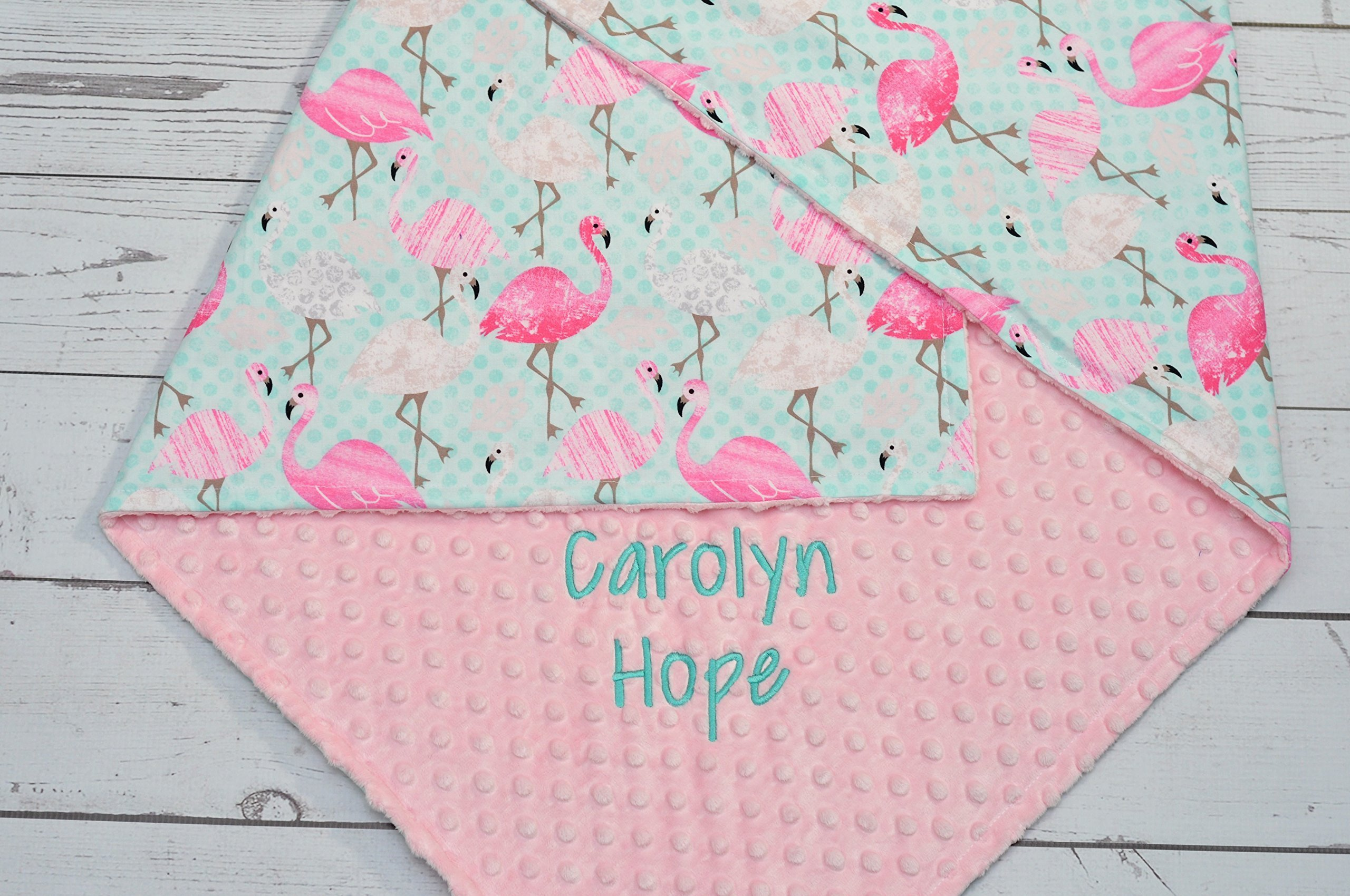 Personalized baby blanket - Personalized minky baby blanket - Minky baby blanket pink Flamingo - Personalized Pink Flamingo minky baby blanket - Flamingo baby girl blanket