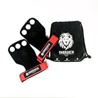 Gymnastics Grips Crossfit - Now with 3 holes for your fingers! GYMNASTICS, CROSSFIT, WEIGHTLIFTING - Deadlifts, Pull-Ups, Chin-Ups, Kettlebell Swing - Hand & Wrist Protection - Small UNBROKEN Bag includes Grips for CrossFit and Weightlifting - Gymnastics Protection against Rips & Calluses - Genuine Leather Manufacturer: Unbroken Sports wear SAS