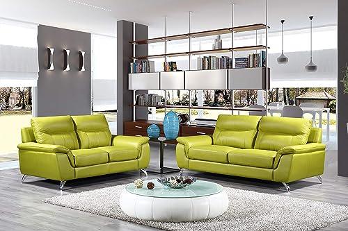 Cortesi Home Chicago Leather Sofa Loveseat Set