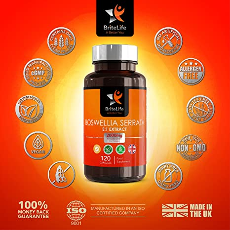Boswellia Serrata 2000 mg 5:1 Extract de ALTA RESISTENCIA BriteLife - 120 Cápsulas veganas | ANALGÉSICO Y ANTI INFLAMATORIO | Para las articulaciones ...