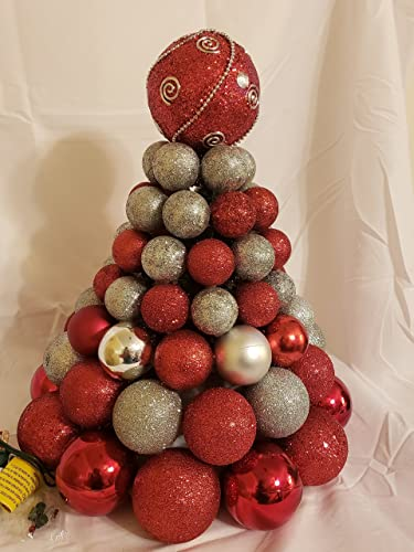 pre lit christmas tree made from ornaments clear lights centerpiece
