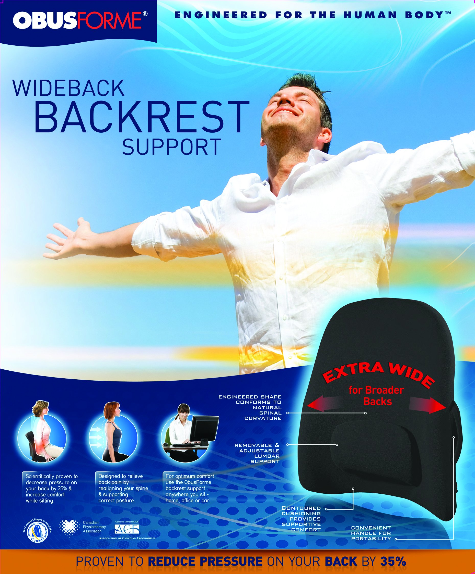 ObusForme Wideback Backrest Support Engineered For The Human Body, Removable & Adjustable Lumbar Support, Reduce Pressure On Your Back, Extra Wide For Broader Backs, S Shape Back Support by ObusForme (Image #4)
