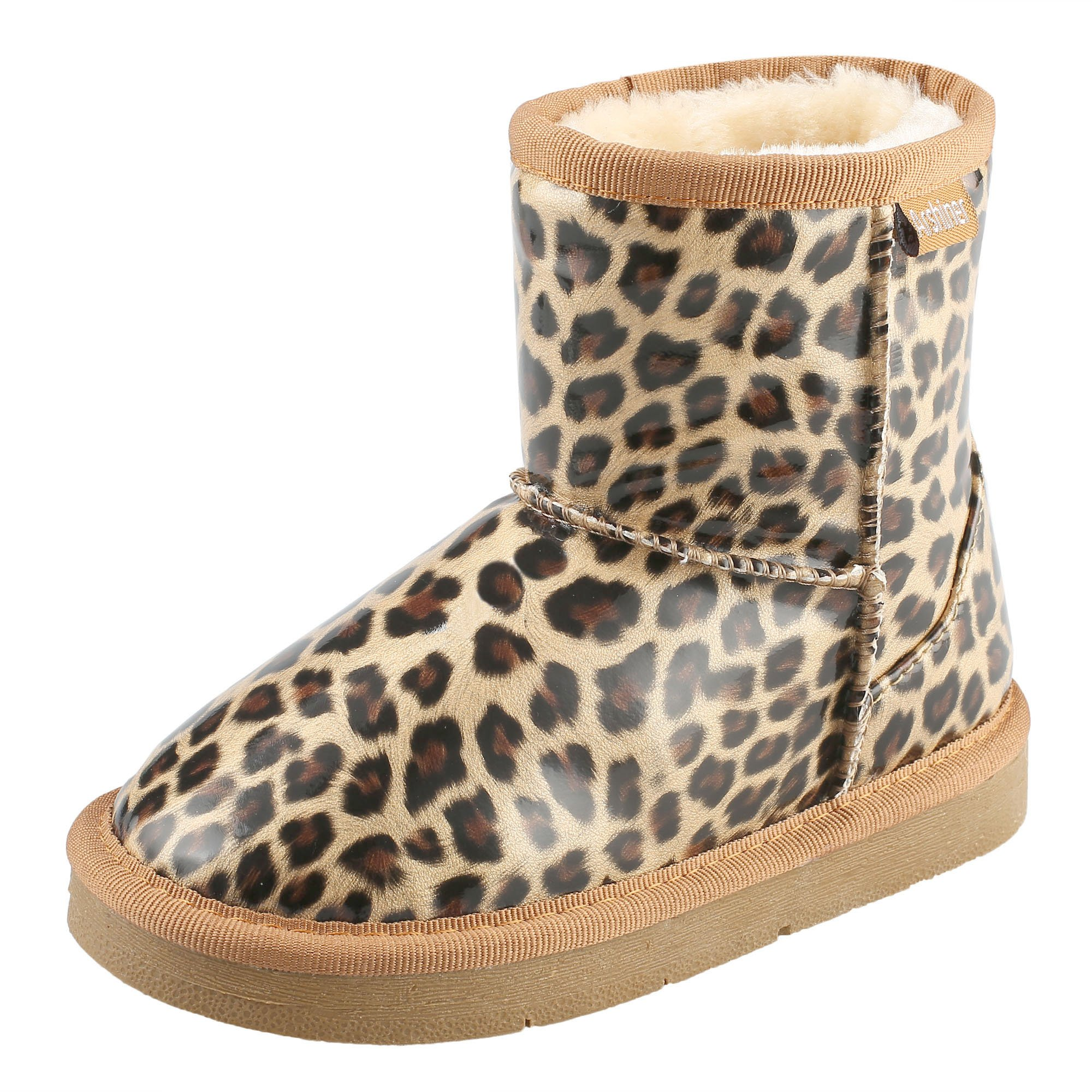 Arshiner Girls' Boys Warm Winter Fur Shoes Snow Boots, Leopard 1-1.5T