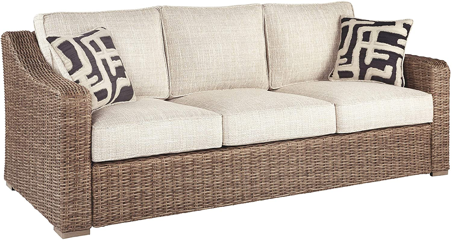 Signature Design by Ashley - Beachcroft Outdoor Sofa with Cushions - Farmhouse Style - All-weather Wicker Frame - Beige/Brown