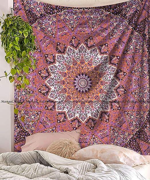 Nueva Pasión Ombre Mandala tamaño King colcha de algodón colgante de pared Mandala tapiz de Bohemia, diseño psicodélico de pared Arte, dormitorio decoración playa manta, indio tapices: Amazon.es: Hogar