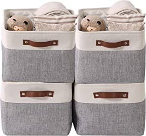DECOMOMO Foldable Storage Bin [4-Pack] Collapsible Sturdy Cationic Fabric Storage Basket Cube W/Handles for Organizing Shelf Nursery Home Closet (Grey and White, Large - 15 x 11 x 9.5-4 Pack)