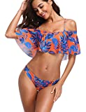 Memory baby Two Piece Women's Halter Off The Shoulder Flounce Swimsuits High Waisted Bikini Sets