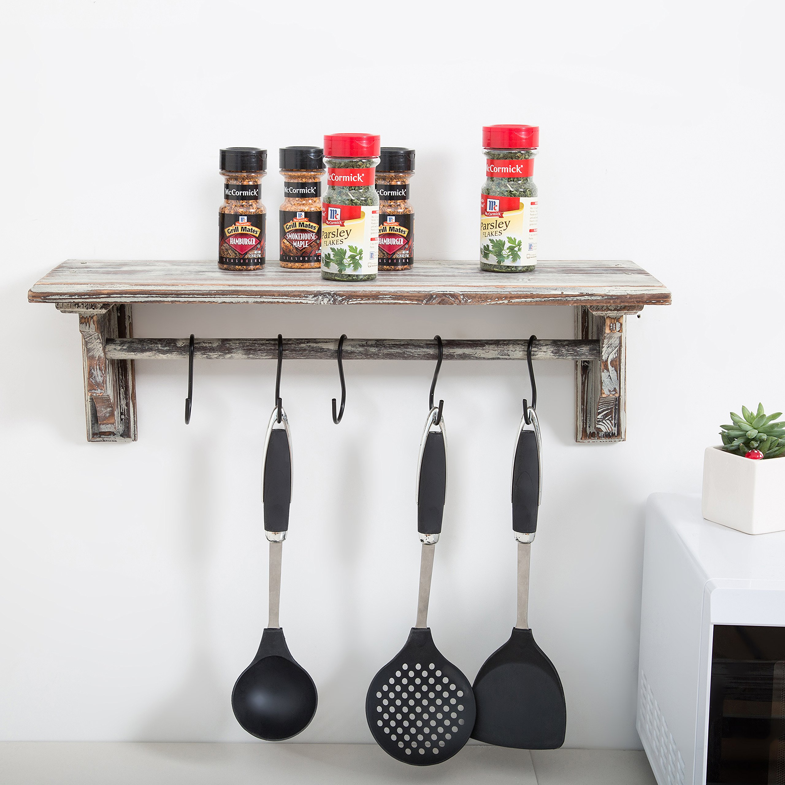 Wall Mounted Torched Wood Kitchen Storage Shelf and Towel Bar with 5 ...