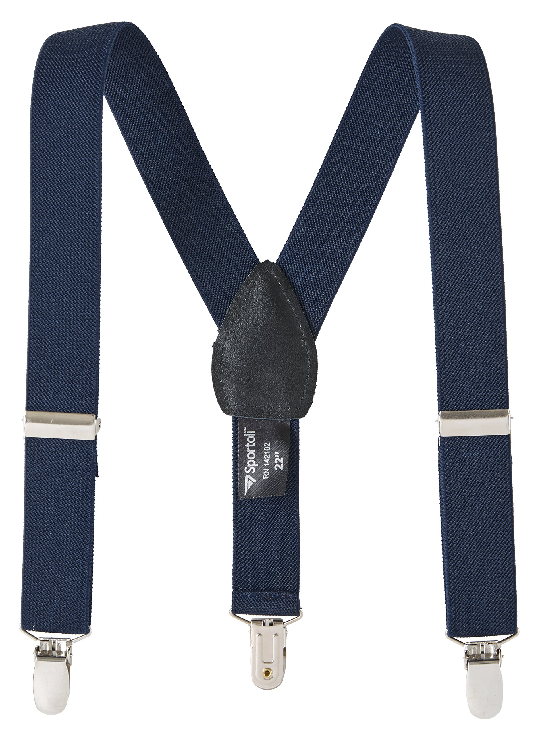 Suspenders for kids Baby Adjustable Elastic Solid, Striped, and Polka Dot Suspenders - Navy (22 Inch)