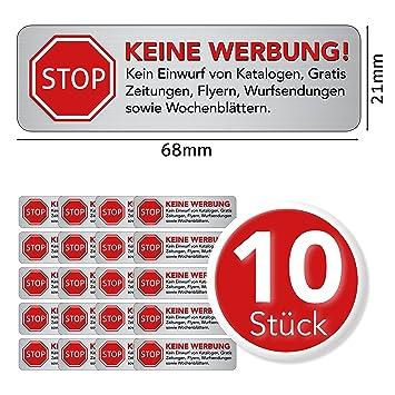 Keine Werbung Aufkleber - Schild – Folie - Sticker ( STOP Bitte ...