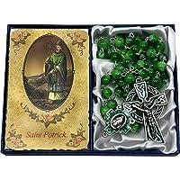 CB Catholic St Patrick Green Glass Marble Bead Rosary Gift Set