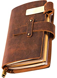 Amazon.com : Leather Journal Refillable Travel Journal ...