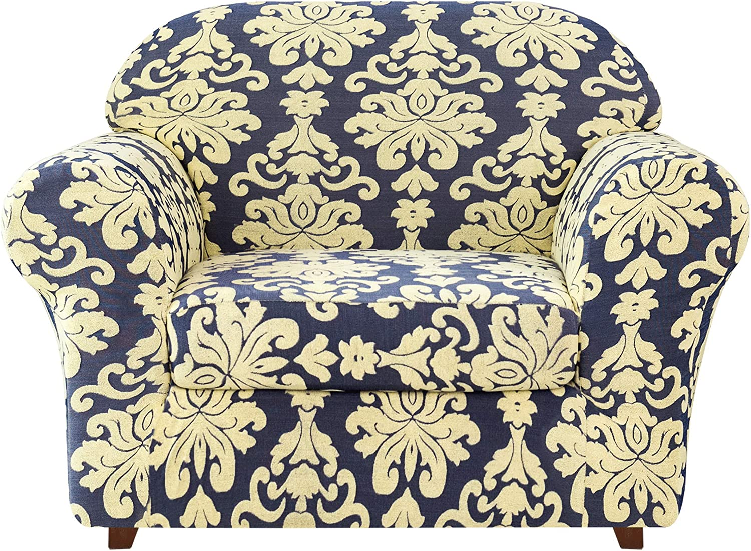 CHUN YI 2-Piece Stretch Jacquard Damask Elegant Collection Chair Loveseat Sofa Slipcover Easy Fitted Couch Cover Stretchable Durable Furniture Protector (Small, Royal Blue)
