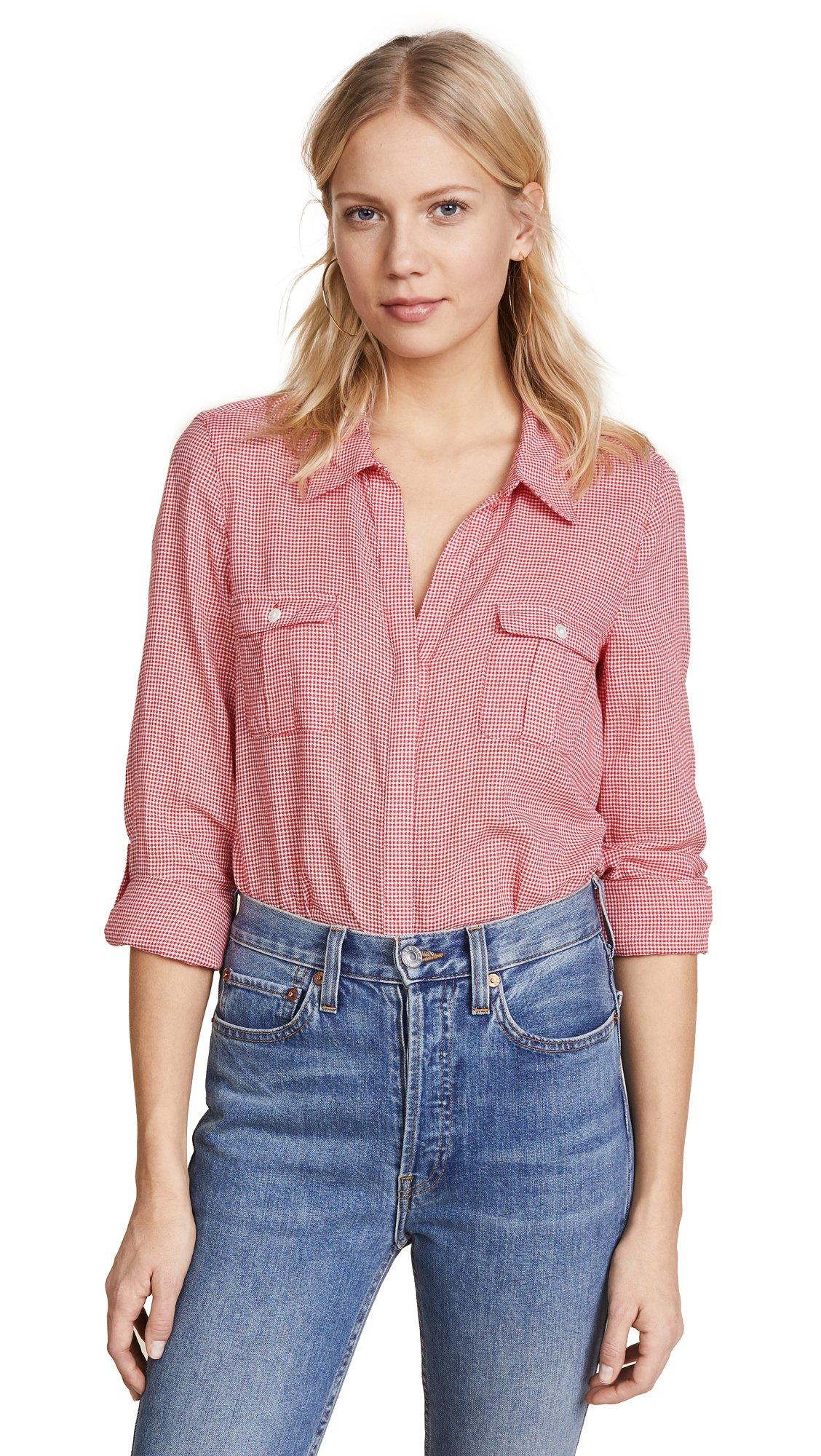 Joie Women's Booker Button Down Shirt, Alarm Red, Small