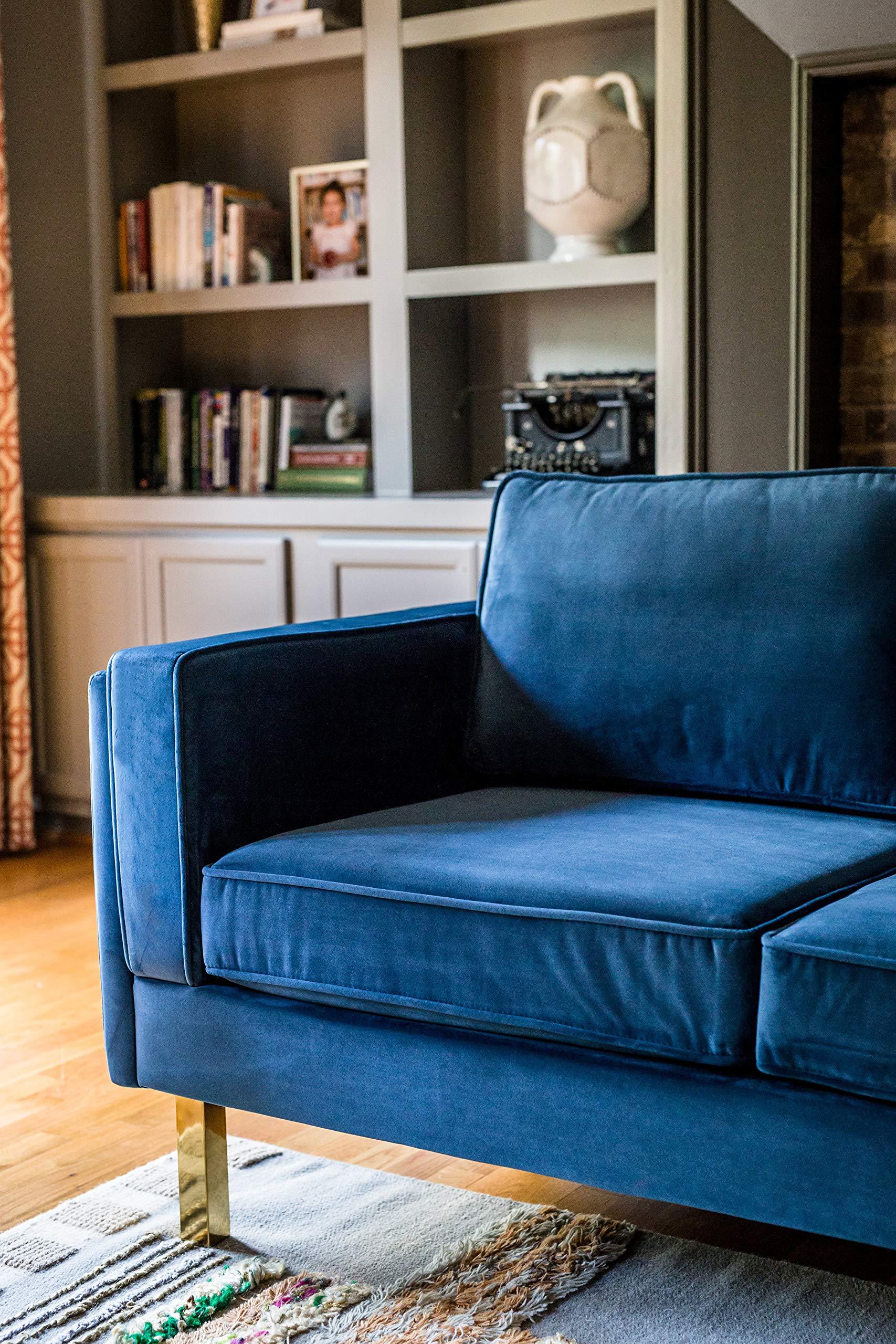 Pleasant Edloe Finch Midcentury Modern Lexington Blue Velvet Sofa 87 Bralicious Painted Fabric Chair Ideas Braliciousco