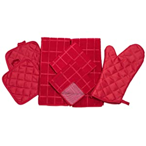 Home Collection 7 Piece Kitchen Towel Set with Dish Cloths, Pot Holders, and Oven Mitt Bundle (Red)