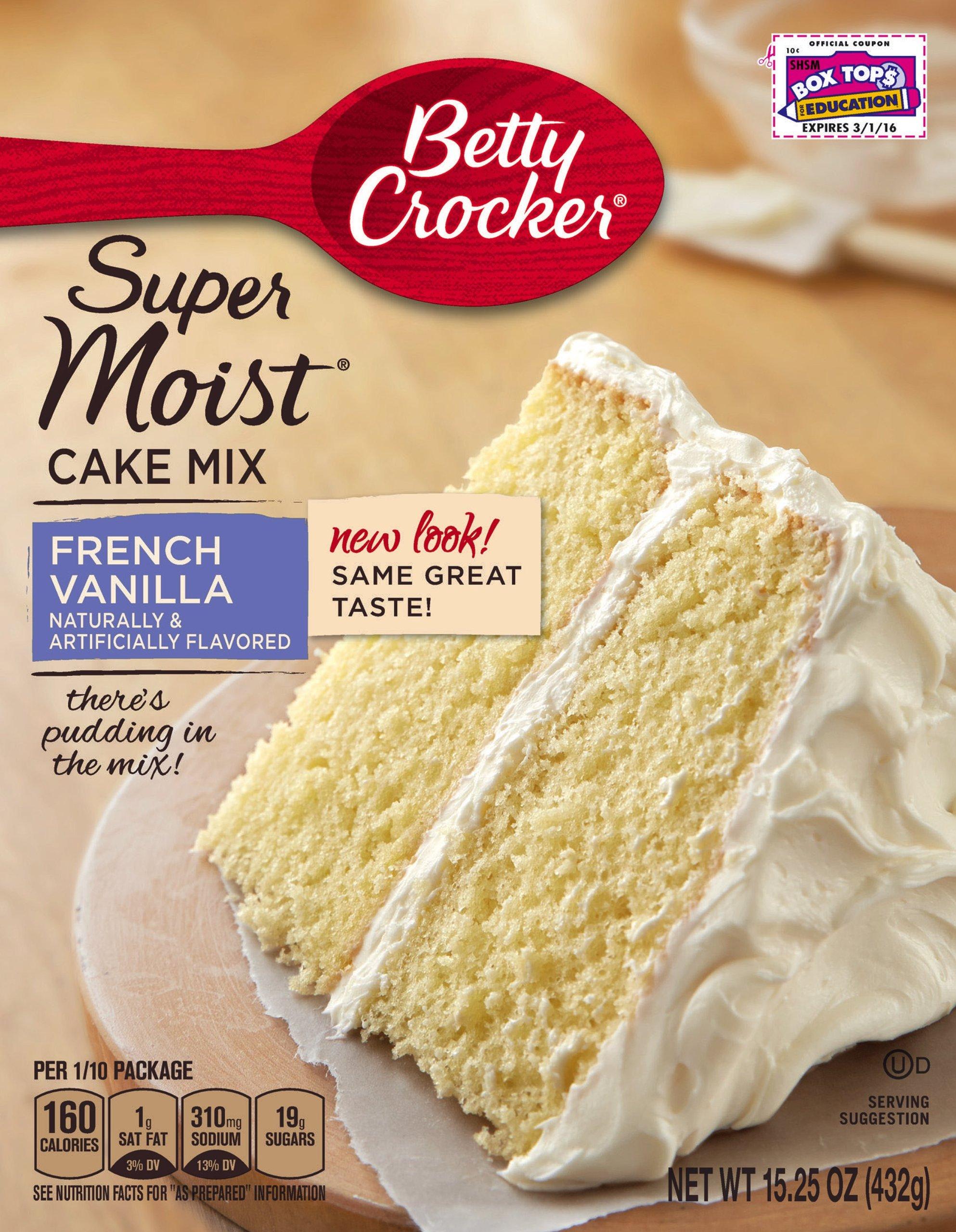 Betty Crocker Baking Mix, Super Moist Cake Mix, French Vanilla, 15.25 Oz Box (Pack of 6)