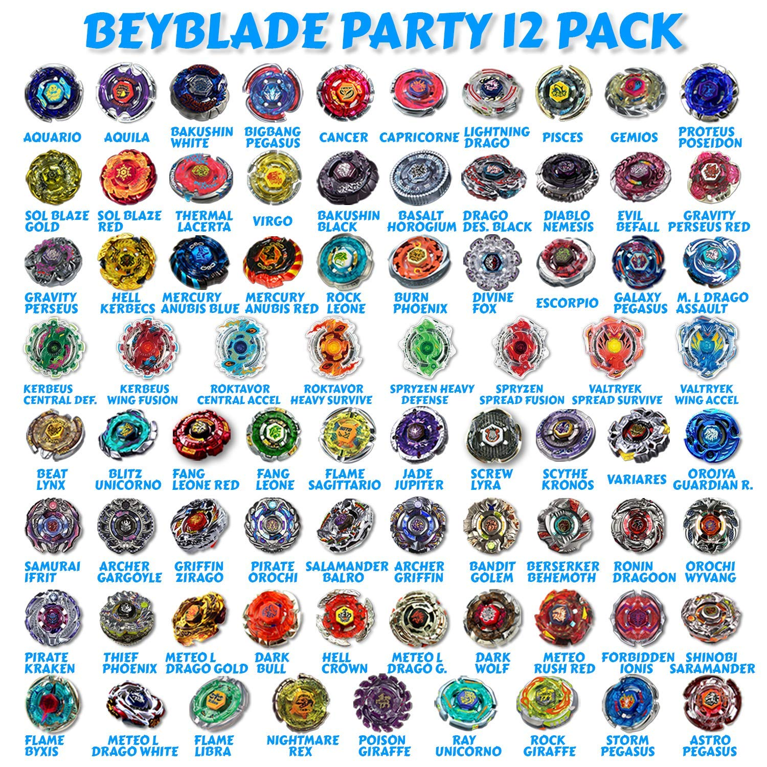 Beyblade Party 12 Random Beyblade Pack Metal Fusion, Metal Fury, Metal Master, Zero G Shogun Steel, Burst Series Shipped and Sold from The US