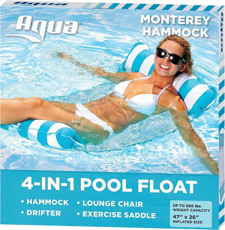 Aqua 4-in-1 Monterey Hammock Inflatable Pool Float, Multi-Purpose Pool Hammock (Saddle, Lounge Chair, Hammock, Drifter) Pool Chair, Portable Water Hammock, Light Blue/White Stripe: Toys & Games