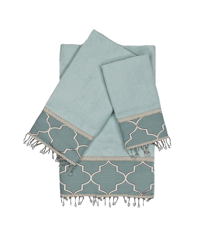 Aqua PCHF AHE00019 Austin Horn En Vogue Stanton Beads 3 Piece Decorative Embellished Towel Set