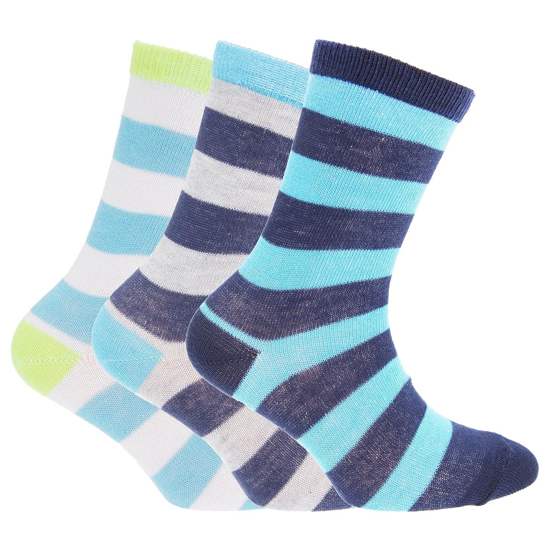 Childrens/Boys Striped Design Socks (Pack Of 3) Universal Textiles UTK214_10