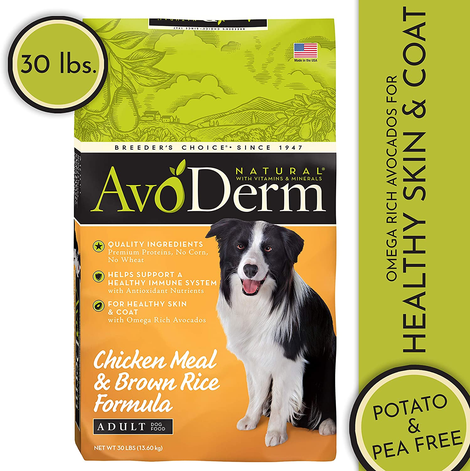 AvoDerm Natural Dry Wet Dog Food, Healthy Skin Coat, Chicken Recipe