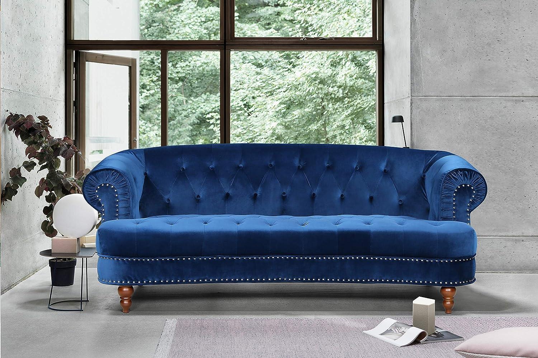 Container Furniture Direct Vivian Holder Modern Velvet Upholstered Nailhead Trim Chesterfield Living Room Sofa 81 89 Blue Furniture Decor