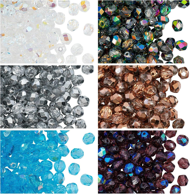 Czech Fire Polished Glass Beads~Facet Czech Beads~Luster Capri Blue~6mm