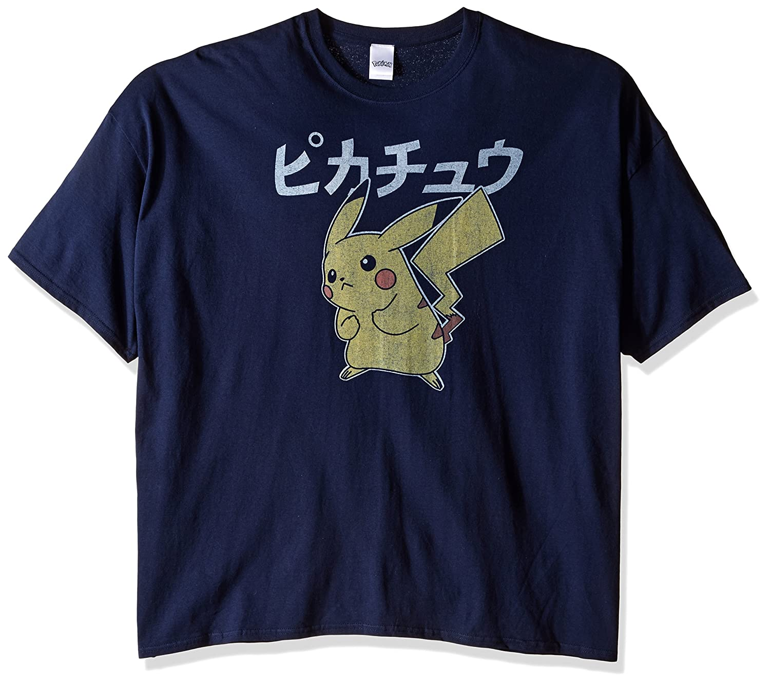 3870f0399 Amazon.com: Pokemon Men's Vintage Pikachu T-Shirt, Navy, 5X-Large: Clothing