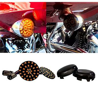Black Out Amber LED Turn Signal Running Light Insert Harley Bullet 1157 Bulb FL FX XL Smoke Lens touring dyna softail sportster street road electra glide: Automotive