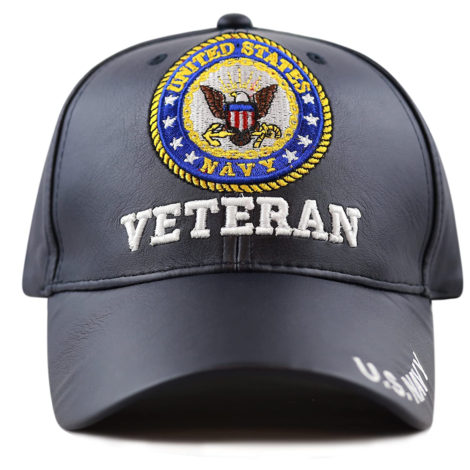 29c0b98e0 THE HAT DEPOT Official Licensed 3D Embroidered Soft Faux Leather Veteran Military  Cap (U.S.Marine-Black) at Amazon Men's Clothing store: