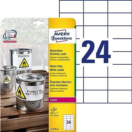 Avery España L4718-20 - Pack de 20 hojas de etiquetas para seguridad, 70 x 37 mm, color blanco: Amazon.es: Oficina y papelería