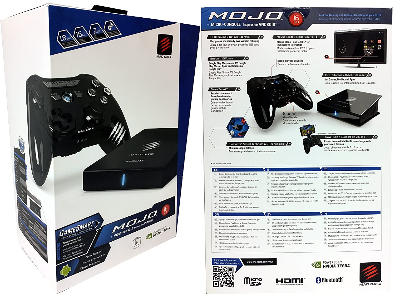 Mad Catz MOJO Micro-Console for Android 16GB Gaming and Media Box, Plus  Extra 16GB MicroSD Card for Expanded (32GB Bundle)