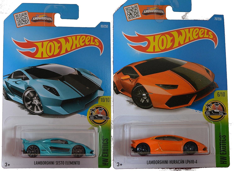 Hot Wheels 2016 Lamborghini Sesto Elemento Turquoise  Orange Lamborghini Huracan LP610-4 2-Car Exotic Set by Team Hot Wheels