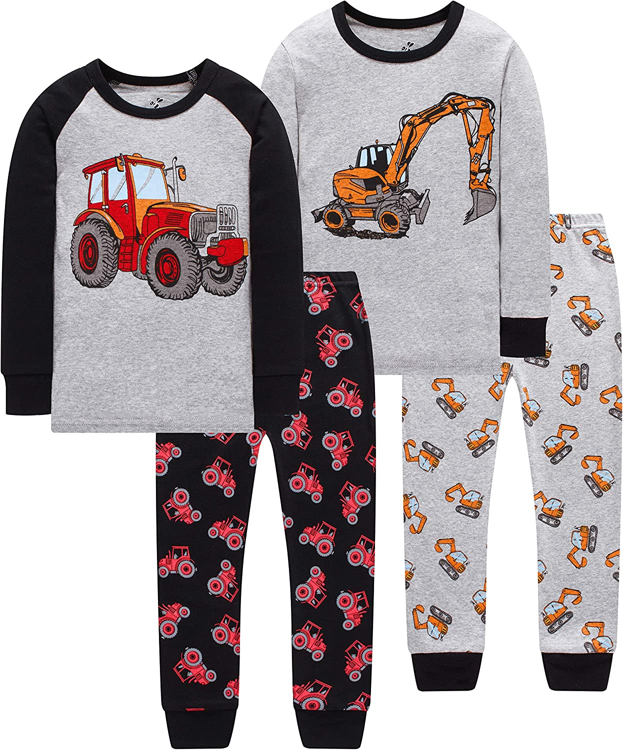 Truck Pajamas for Boys Girls Christmas Sleepwear Baby Excavator Clothes 4 Pieces Pants Set