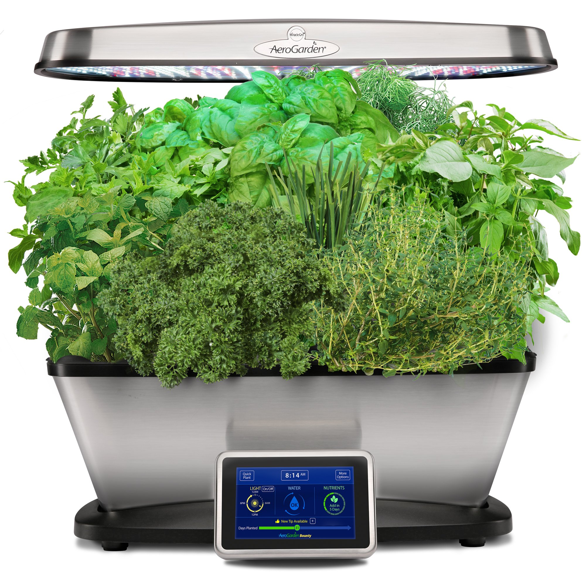 AeroGarden Bounty Elite with Gourmet Herb Seed Pod Kit, Stainless