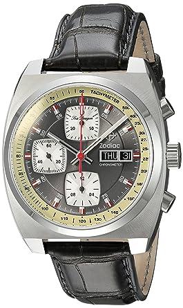 03122a1f6 Zodiac Men's Seadragon Stainless Steel Swiss-Automatic Watch with Leather-Alligator  Strap, Grey