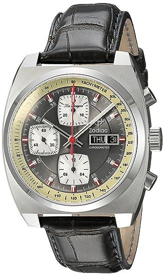 Zodiac - Reloj casual suizo automático de acero inoxidable y cuero para hombre, color gris