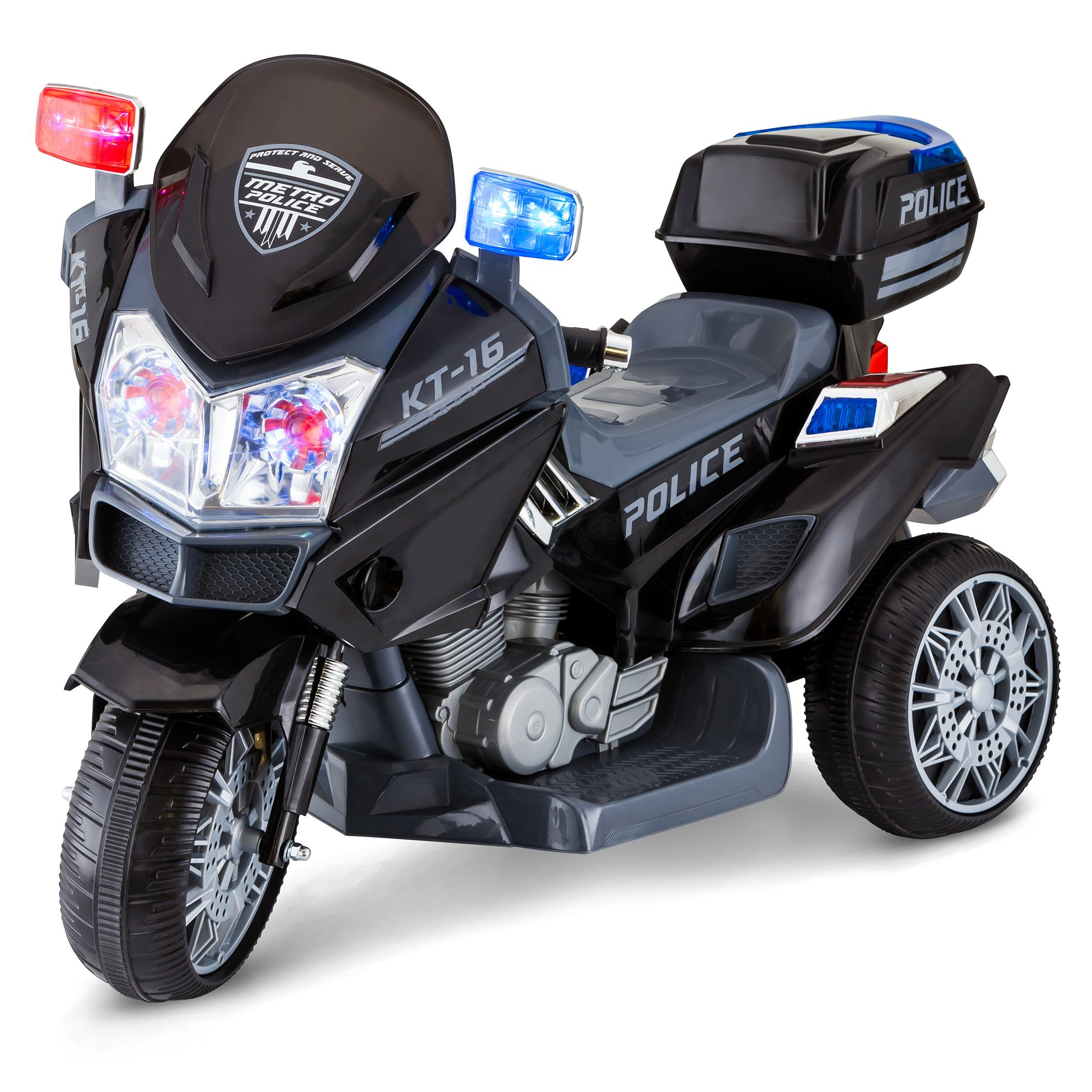 Kid Trax Police Rescue Motorcycle 6V Electric Ride on, Black by Kid Trax