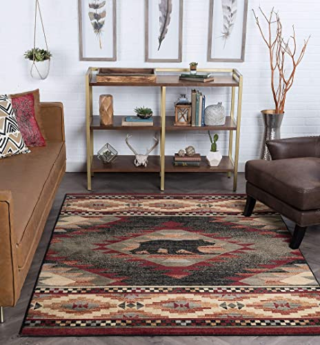 Tayse Katmai Multi-Color 5x8 Rectangle Area Rug Cabin