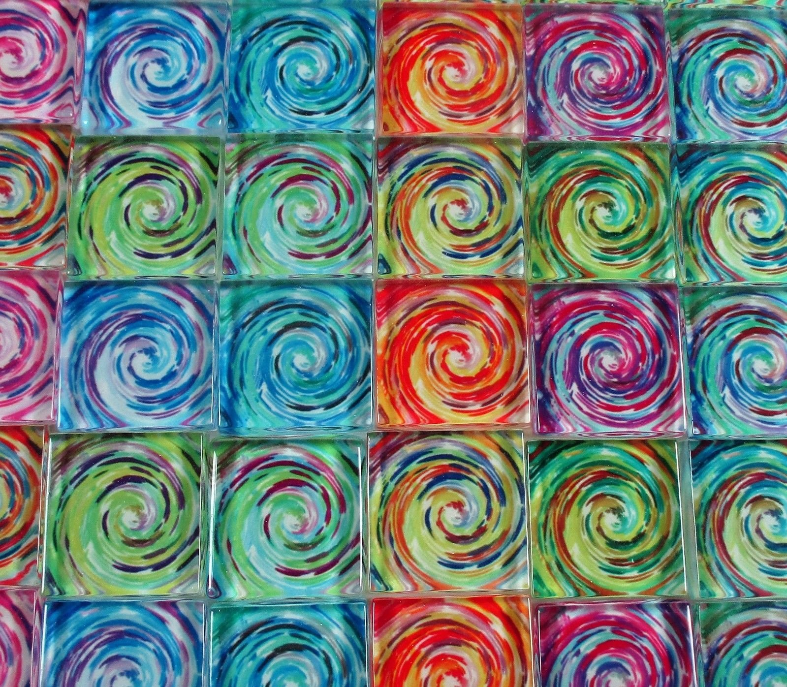 Glass Mosaic Tiles - Van Gogh Swirls Blue Orange Green Blue Pink 1'' Squares
