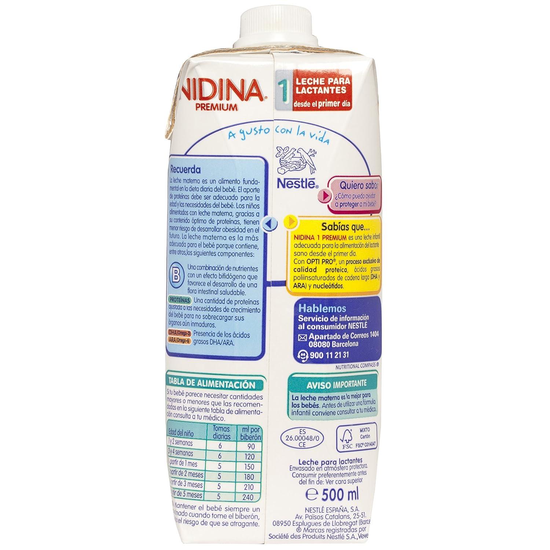 NESTLÉ NIDINA 1 - Desde el primer día - Leche para lactantes líquida - Fórmula para bebés - 500ml: Amazon.es: Amazon Pantry