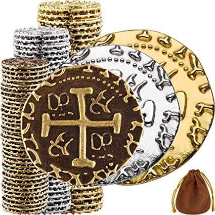 Metal Replica Spanish Doubloons for Board Games Pirate Coins Pirate Treasure Chest 102 Bronze L XL Sizes Mix M Silver /& Gold Treasure Coin Set Tokens Cosplay Realistic Money Imitation