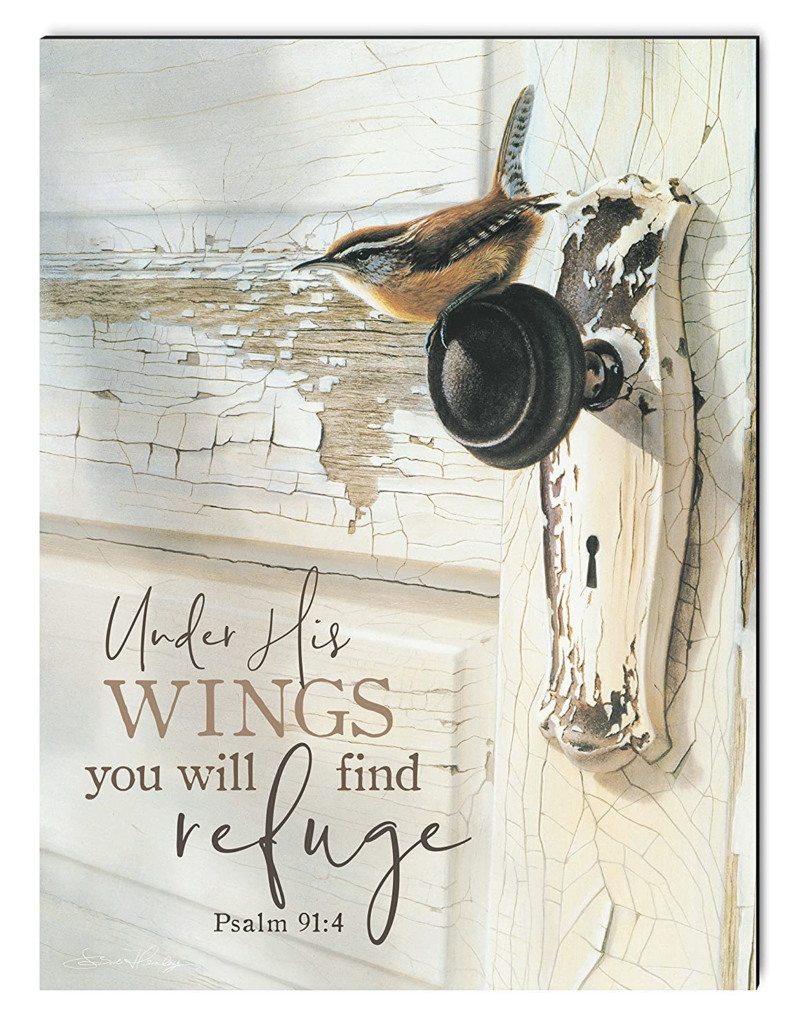 P GRAHAM DUNN Under His Wings Find Refuge Bird on Door 12 x 16 Inch Wood Printed Decorative Wall Plaque Sign