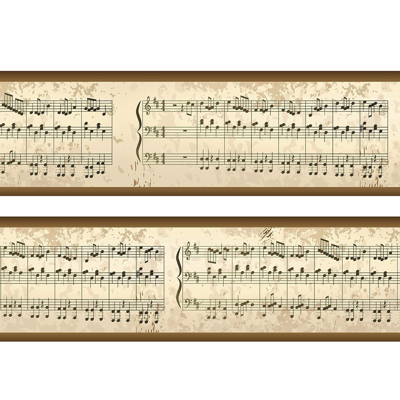 Bordü re Notenblatt Borde Wandborde 260cm Breite - Papier Borte Tapetenbordü re Bordü ren wandmotiv24