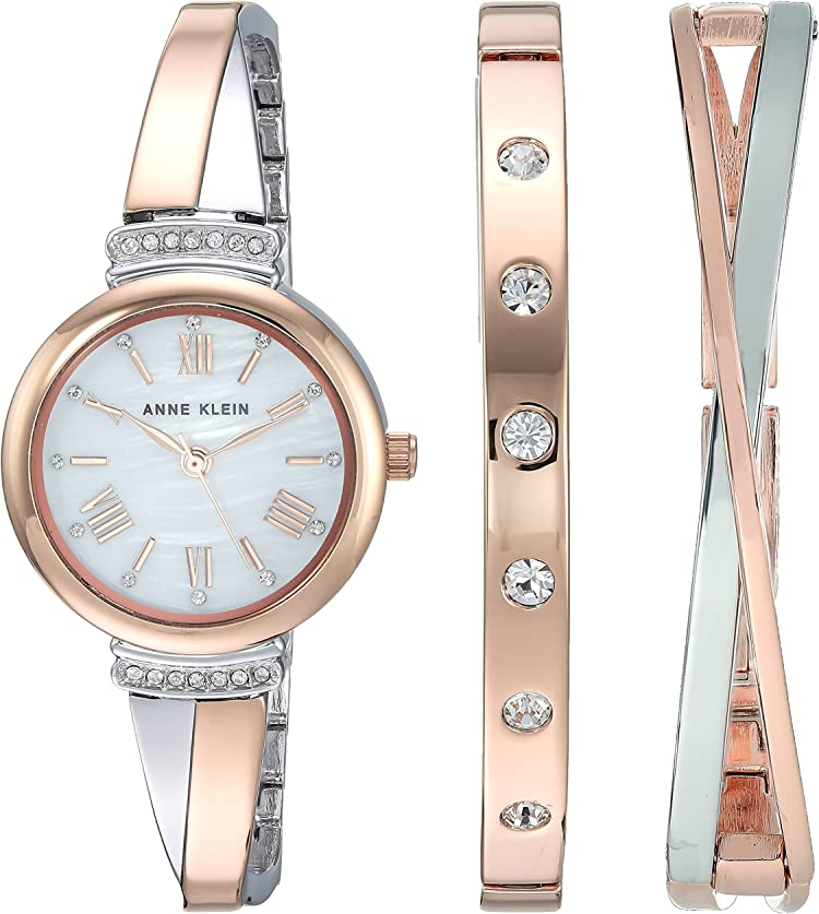 Two-tone watch and bracelet set with Swarovski crystal accents