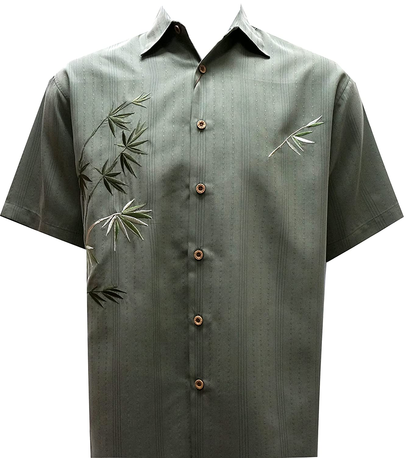 Bamboo Cay Mens Short Sleeve Flying Bamboos Casual Embroidered Woven Shirt WB 2006D
