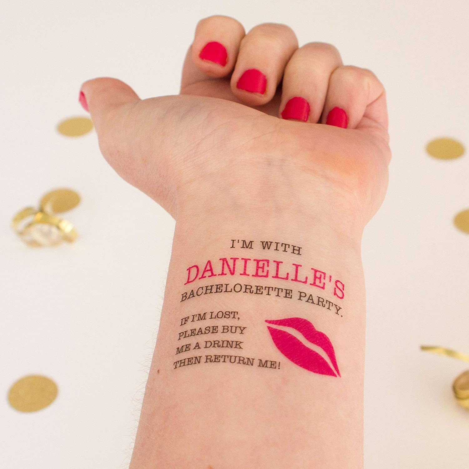 Personalized If Lost Buy Me a Drink Bachelorette Temporary Tattoos