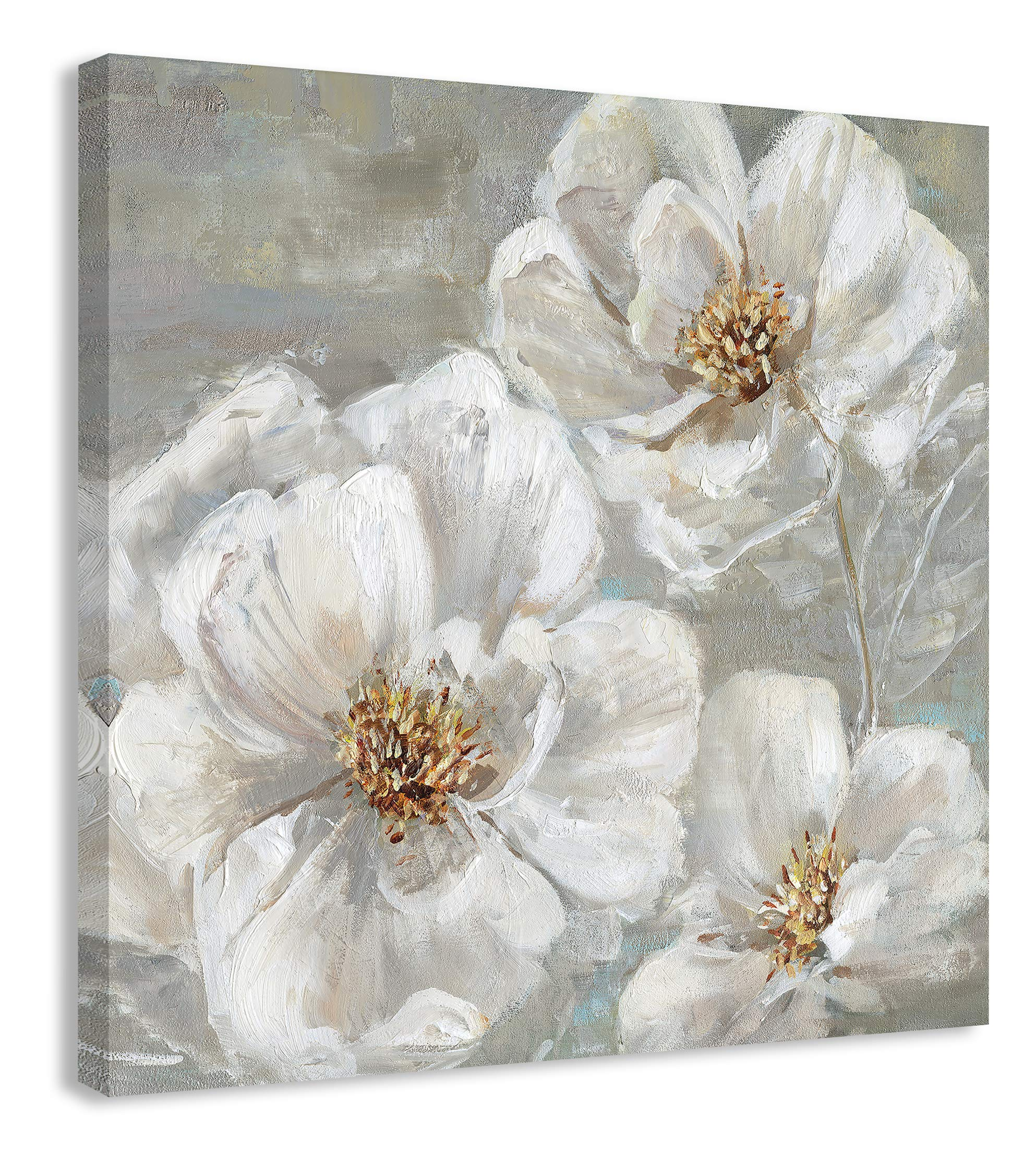 Casa Fine Arts Summer Solstice II White and Grey Transitional Floral Canvas Wall Art, 36'' x 36'', Multicolor by Casa Fine Arts